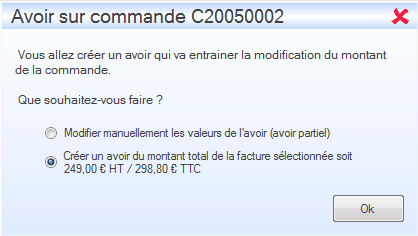 Interface du module des finances