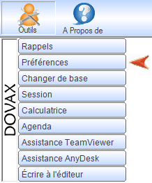 Interface du module commercial